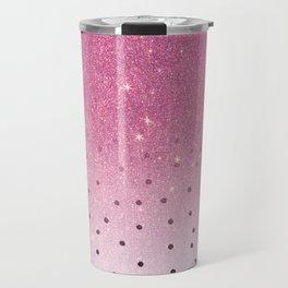 Black white polka dots pink glitter ombre Travel Mug