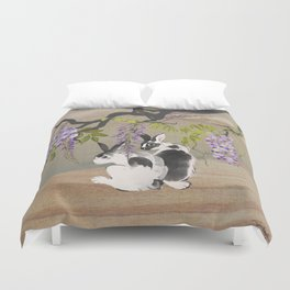 Two Rabbits Under Wisteria Tree Duvet Cover