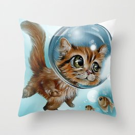 swimming charly Throw Pillow