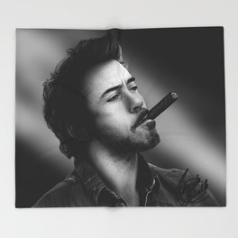 David's Portrait #2 Robert Downey Junior Throw Blanket