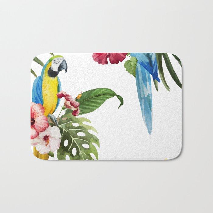 Tropical Bird Pattern 02 Bath Mat