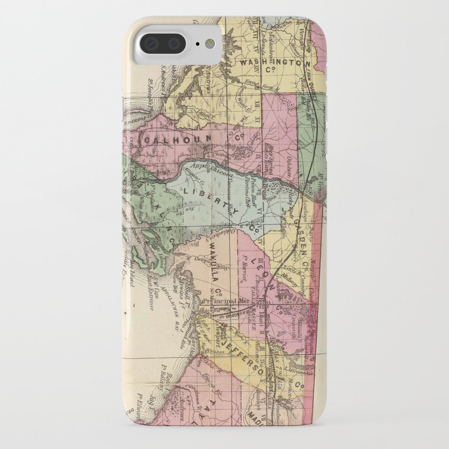 Vintage Map of The Florida Panhandle (1870) iPhone Case