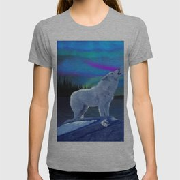 Arctic Prayer - White Wolf and Aurora T-shirt