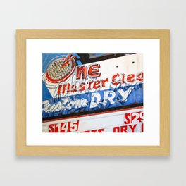 Retro Dry Cleaners Neon Sign Painting Framed Art Print