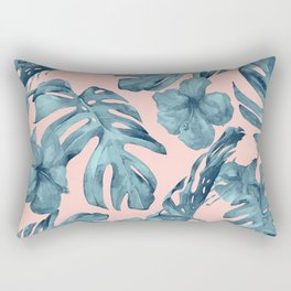 Island Life Teal on Light Pink Rectangular Pillow