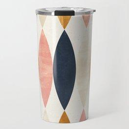 Colorful Pastel Geometric Scale Pattern Pink Navy Gold Art Deco Travel Mug