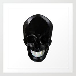 Skull Black Low Poly Art Print