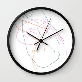 Pink, orange and blue lines Wall Clock