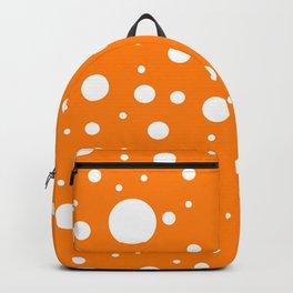 Mixed Polka Dots - White on Orange Backpack