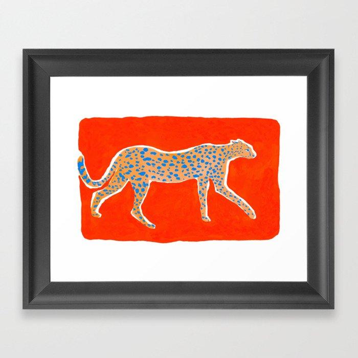 Leopard - Orange Gerahmter Kunstdruck