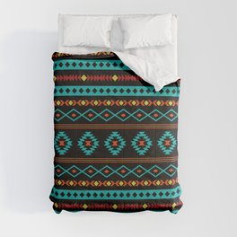 Aztec Teal Reds Yellow Black Mixed Motifs Pattern Comforters