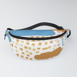 Hand Painted Pink Blue and Ochre Rain Clouds Fanny Pack