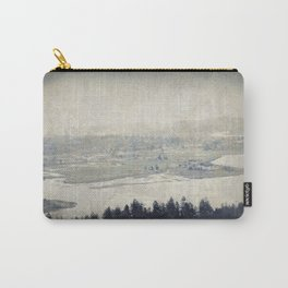 antiqued view from the Astoria Column Youngs Bay Carry-All Pouch