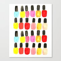 nail polish Canvas Prints featuring Nail Polish by Bouffants and Broken Hearts