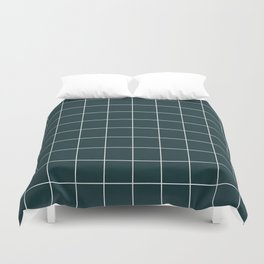 Small Grid Pattern - Green Tinted Navy Blue Duvet Cover