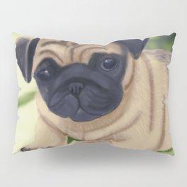 Cute pug on green sofa Pillow Sham