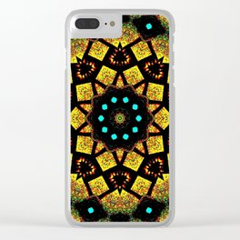 Bright Yellow Mosaic Symmetry Mandala Clear iPhone Case