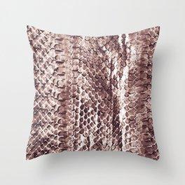 Burgundy ink snake skin print Throw Pillow