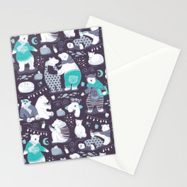 Arctic bear pajamas party Stationery Cards
