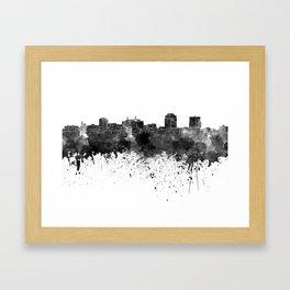 Colorado Springs skyline in watercolor background Framed Art Print