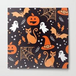 Halloween party illustrations orange, black Metal Print