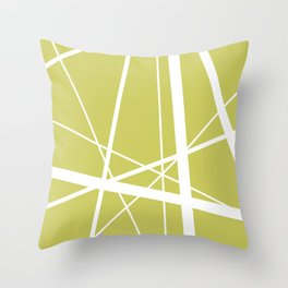 Mikado pattern graphic lines pastel yellow Throw Pillow