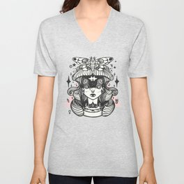 Girl With Death Head Moth Unisex V-Neck