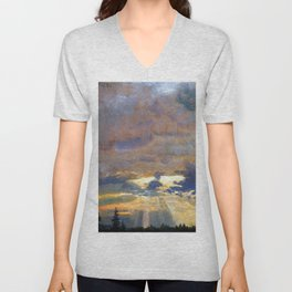 Johan Christian Dahl Cloud Study with Sunbeams Unisex V-Neck
