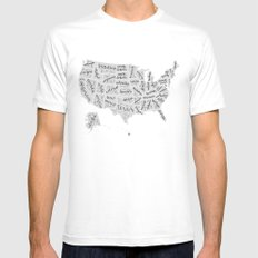 United States of Hand Lettering MEDIUM White Mens Fitted Tee