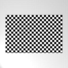 Classic Black and White Race Check Checkered Geometric Win Welcome Mat