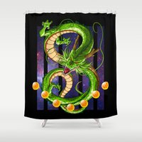 dragon ball z Shower Curtains featuring Dragon by TxzDesign