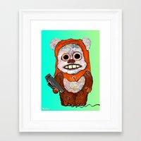 ewok Framed Art Prints featuring Eccentric Ewok by Jordan Soliz