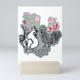 Magnolia Roosters Mini Art Print