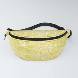 Modern trendy white floral lace hand drawn pattern on meadowlark yellow Fanny Pack