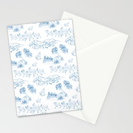 Arctic Wildlife Pattern (White and Blue) Stationery Cards
