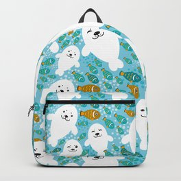 happy family of white seals and fish on a blue background. Backpack