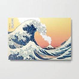 Great Wave Off Kanagawa Mount Fuji Eruption Gradient Orange and Yellow Metal Print