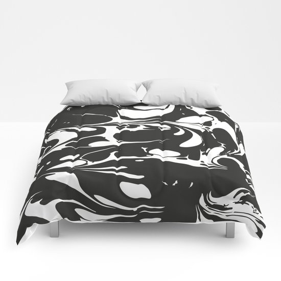 Black and white marble surface design comforters by for Black and white marble bedding