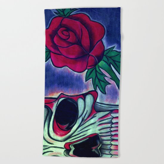 Skull & Red Rose Beach Towel