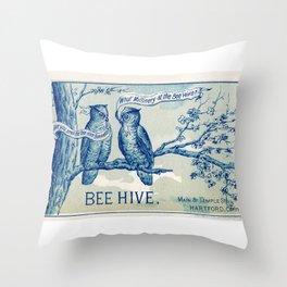 Vintage owl talk Throw Pillow