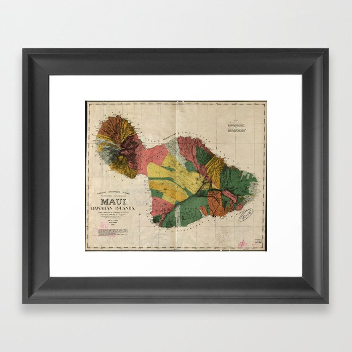 picture about Printable Map of Maui named Common Map of Maui Hawaii (1885) Framed Artwork Print