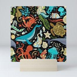 Underwater animals and plants pattern Mini Art Print