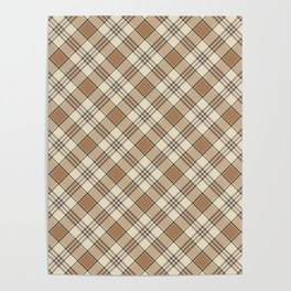 Brown and Tan Plaid Pattern Poster