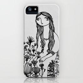 garden girl monochrome iPhone Case