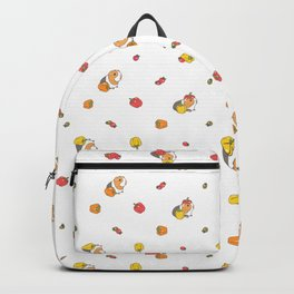Bell Peppers and Guinea Pigs Pattern in White Background Backpack