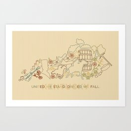 Kentucky State Lines Art Print