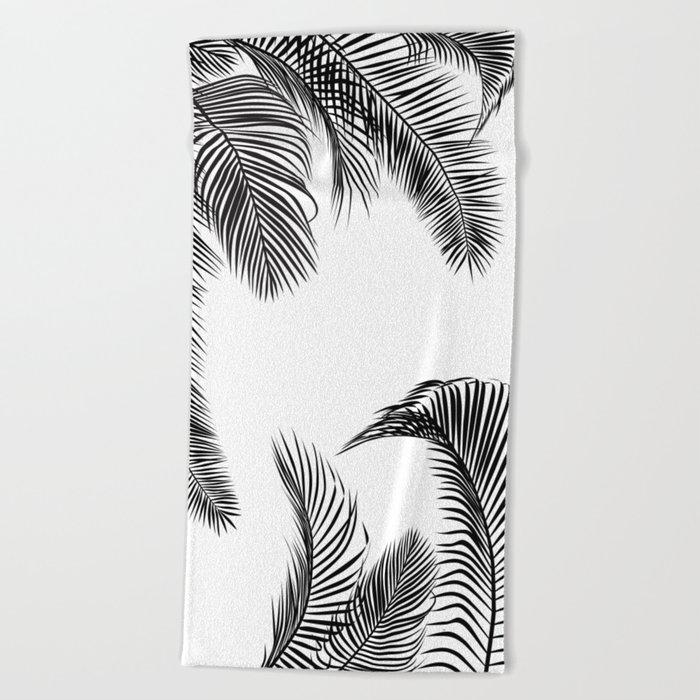 Black palm tree leaves pattern Beach Towel