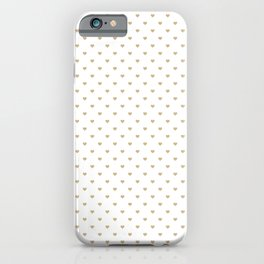 Christmas Gold Love Hearts on White iPhone Case