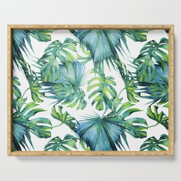Blue Jungle Leaves, Monstera, Palm #society6 Serving Tray