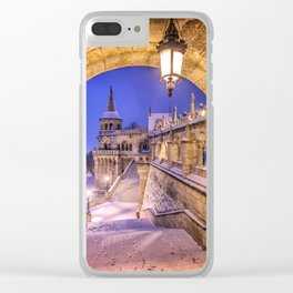 Snowy winter morning at the Fisherman's Bastion in Budapest Clear iPhone Case